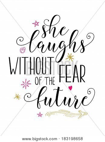 She Laughs without fear of the future bible scripture vector design art with hand-drawn flower, heart and star accents from Proverbs