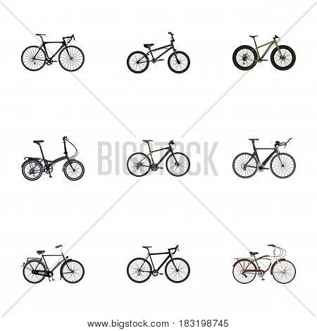 Realistic Extreme Biking, Hybrid Velocipede, Exercise Riding And Other Vector Elements. Set Of Bike Realistic Symbols Also Includes Bike, Training, Extreme Objects.
