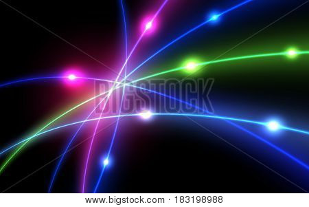 Neon glowing magic vector lines. Flash lens. Luminosity  light effect on a dark background.