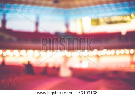 Blurred Background, Red Seat Row In Theatre With Vintage Filter