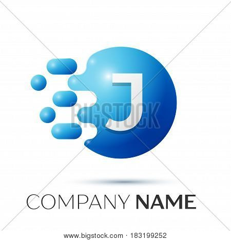 J Letter splash logo. Blue dots and circle bubble letter design on grey background. Vector Illustration