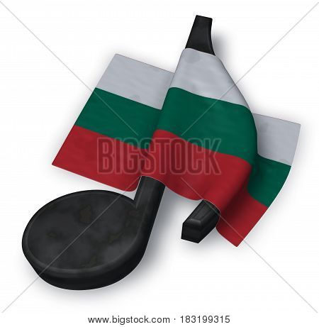 music note symbol and bulgarian flag - 3d rendering