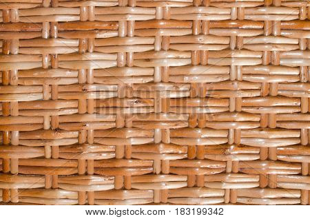 Basketry close up pattern. Bamboo or wooden background. Wicker texture.
