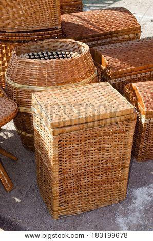 Bamboo or wooden wickerwork. Wicker texture. Basketry pattern.