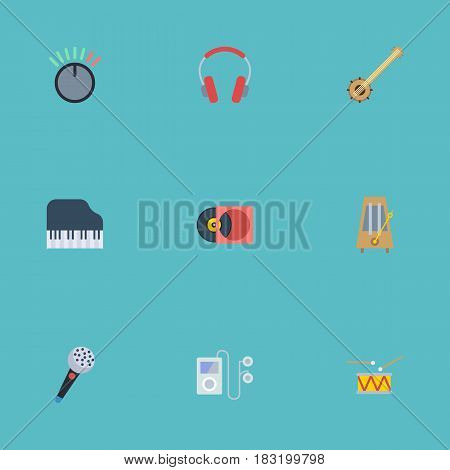 Flat Banjo, Rhythm Motion, Knob And Other Vector Elements. Set Of Melody Flat Symbols Also Includes Karaoke, Tambourine, Audio Objects.