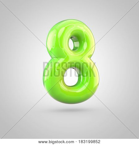 Glossy Lime Paint Alphabet Number 8 Isolated On White Background