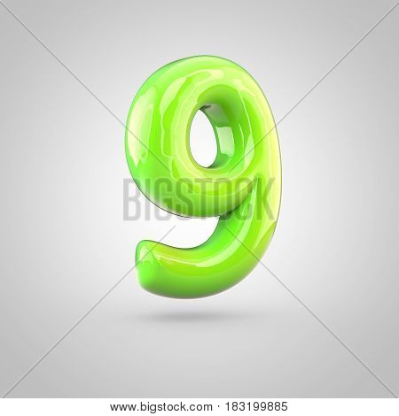 Glossy Lime Paint Alphabet Number 9 Isolated On White Background
