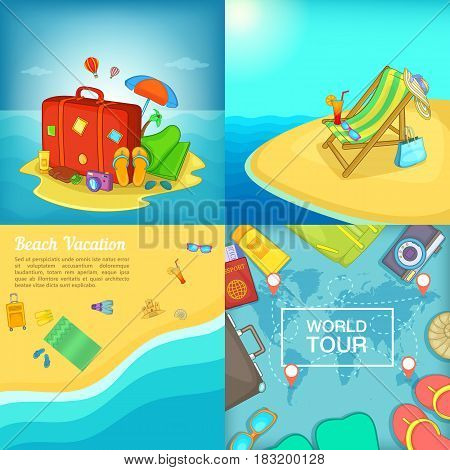 Sea rest banner set in cartoon style for any design vector illustration