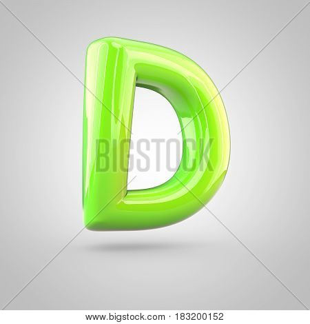 Glossy Lime Paint Alphabet Letter D Uppercase Isolated On White Background