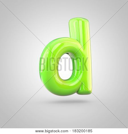 Glossy Lime Paint Alphabet Letter D Lowercase Isolated On White Background