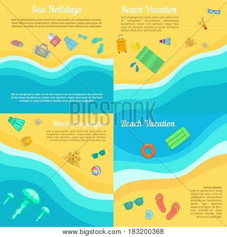 Beach banner set in cartoon style for any design vector illustration