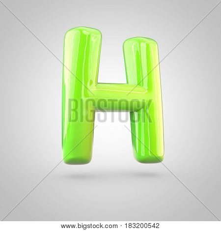Glossy Lime Paint Alphabet Letter H Uppercase Isolated On White Background