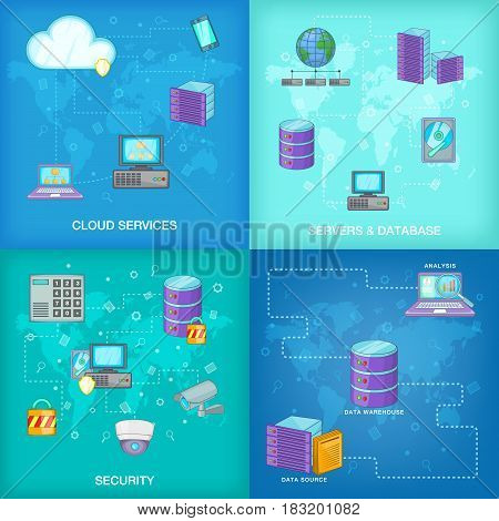 Data base banner set in cartoon style for any design vector illustration