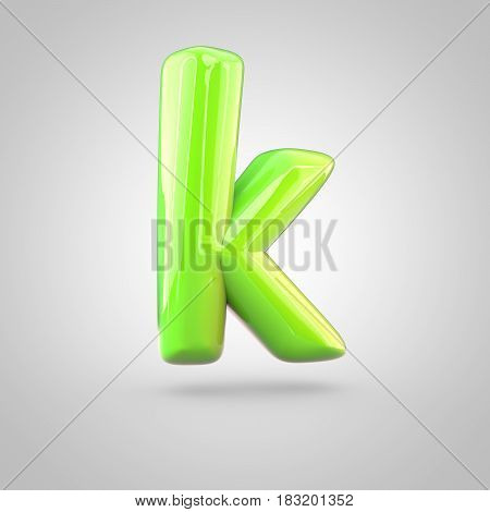 Glossy Lime Paint Alphabet Letter K Lowercase Isolated On White Background