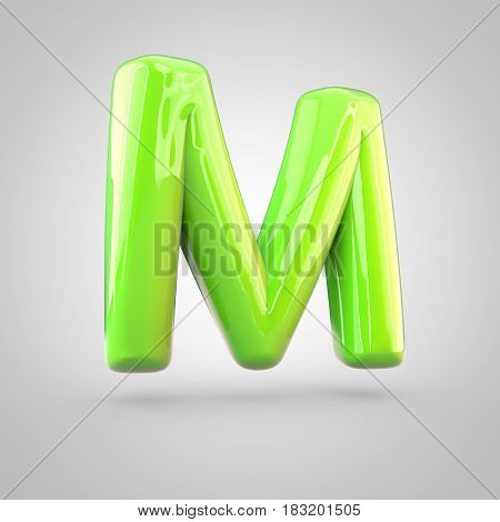 Glossy Lime Paint Alphabet Letter M Uppercase Isolated On White Background
