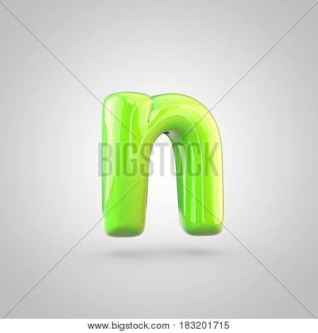 Glossy Lime Paint Alphabet Letter N Lowercase Isolated On White Background