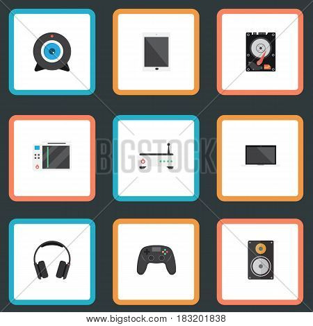 Flat Slot Machine, Amplifier, Palmtop And Other Vector Elements. Set Of Laptop Flat Symbols Also Includes Web, Headphone, Laptop Objects.