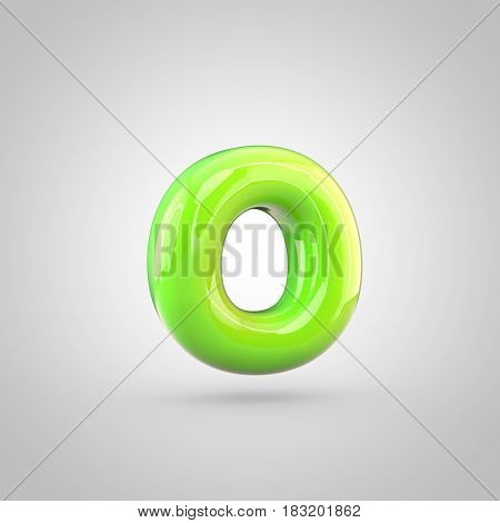 Glossy Lime Paint Alphabet Letter O Lowercase Isolated On White Background