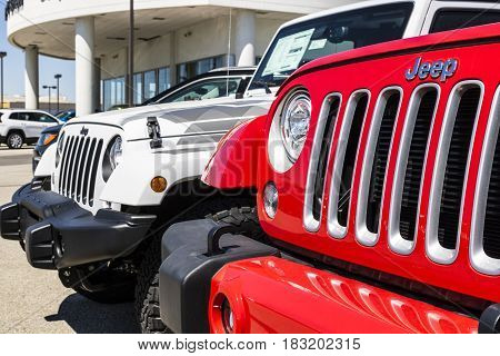 Indianapolis - Circa April 2017: Jeep Automobile Dealership. Jeep is a subsidiary of Fiat Chrysler Automobiles. FCA is the parent company of Dodge, Chrysler, and Ram Trucks I