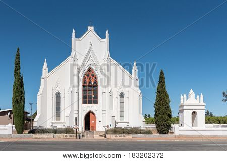 LADISMITH SOUTH AFRICA - MARCH 25 2017: The historic Dutch Reformed Church in Ladismith. It was completed in 1874 and is now a museum
