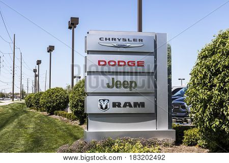 Indianapolis - Circa April 2017: Logo and Dealership Signage of the four American Subsidiaries of FCA - Chrysler, Dodge, Jeep, and Ram Trucks VI