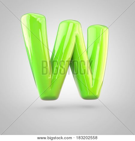 Glossy Lime Paint Alphabet Letter W Uppercase Isolated On White Background