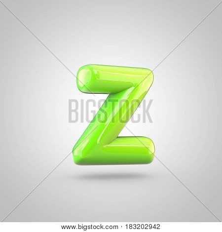 Glossy Lime Paint Alphabet Letter Z Lowercase Isolated On White Background