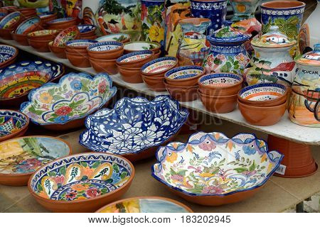 BRUNHEIRAS, ALENTEJO, PORTUGAL - APRIL 22: pottery on the market of the fourth Saturday of the month This market takes place on the 2nd and 4th Saturday of each month 22 April 2017