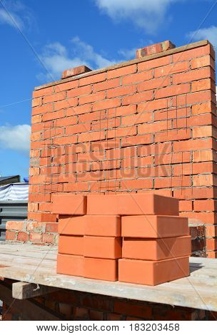 Bricklaying Concept. Brick wall Bricklaying Brickwork Background.