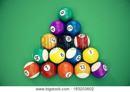 3D illustration Billiard balls arranged in a triangle viewed from above, top view. Snooker, Pool game. Billiard concept