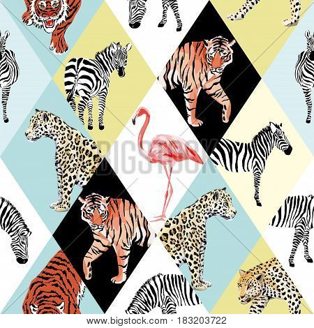 Exotic beach trendy seamless pattern patchwork illustrated tropical animals vector. Jungle zebra pink flamingo tiger lion panther Wallpaper print tropic background mosaic