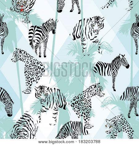 Exotic beach trendy seamless pattern patchwork illustrated tropical animals vector. Jungle zebra tiger lion panther Wallpaper print tropic palm trees background mosaic