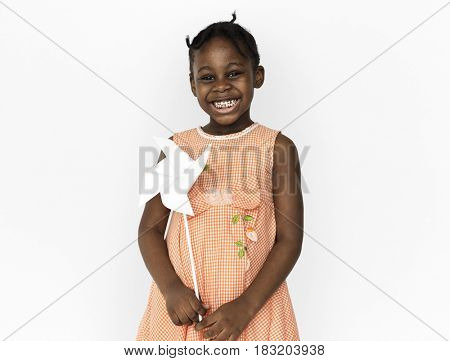 Little Girl Hands Holding Paper Wind Mill Studio Portrait