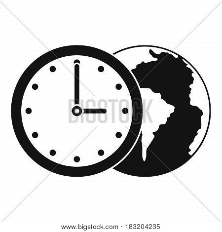 World planet with watch icon. Simple illustration of world planet with watch vector icon for web