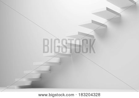 Ascending stairs of rising staircase going upward in white empty room abstract 3d illustration. Business growth progress way and forward achievement creative concept.