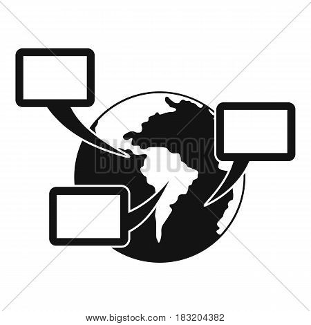 World planet and speech bubbles icon. Simple illustration of world planet and speech bubbles vector icon for web
