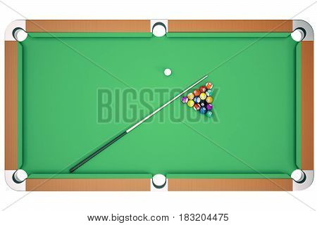 3D illustration pool billiard game. American pool billiard. Pool billiard game. Billiard sport concept