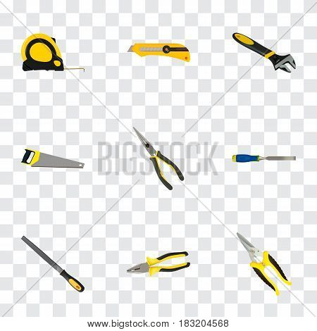 Realistic Hacksaw, Carpenter, Sharpener And Other Vector Elements. Set Of Tools Realistic Symbols Also Includes Nippers, Hacksaw, Chisel Objects.