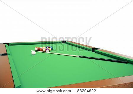 3D illustration Billiard balls in a green pool table, pool billiard game. Billiard concept