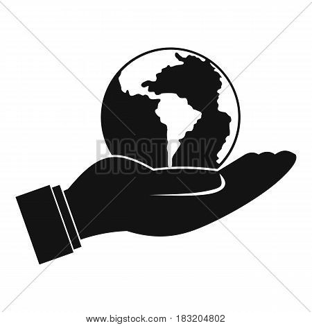 World planet in man hand icon. Simple illustration of world planet in man hand vector icon for web
