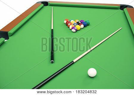 3D illustration Billiard balls in a green pool table, pool billiard game. Billiard concept