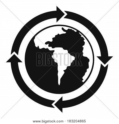 Round arrows around world planet icon. Simple illustration of round arrows around world planet vector icon for web