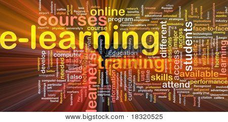 Ilustración de wordcloud de concepto de fondo de la luz que brilla intensamente de e-learning