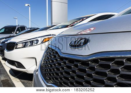 Indianapolis - Circa April 2017: Kia Motors Local Car Dealership. Kia Motors is minority owned by the Hyundai Motor Company III