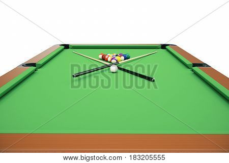 3D illustration Billiard balls on green table with billiard cue, Snooker, Pool game, Billiard concept