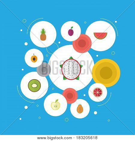 Flat Pitaya, Apricot, Pawpaw And Other Vector Elements. Set Of Dessert Flat Symbols Also Includes Slice, Watermelon, Apple Objects.