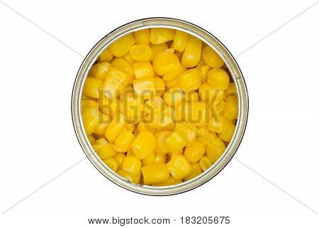 Tin with maize (corn) isolated on a white background.