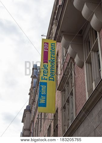 BERLIN GERMANY - APRIL 23 2017: FDP Flag At The National Office Of The Party At Hans-Dietrich-Genscher-Haus In Berlin