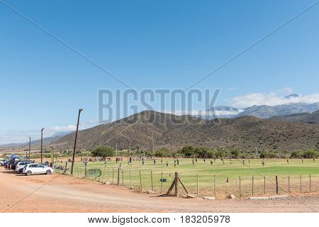 ZOAR SOUTH AFRICA - MARCH 25 2017: A schools rugby game in Zoar a village in the Western Cape Province