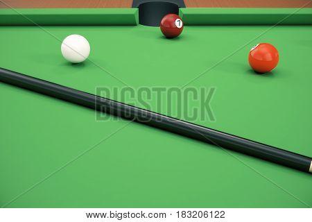 3D illustration pool billiard game. American pool billiard. Pool billiard game. Billiard sport concept.